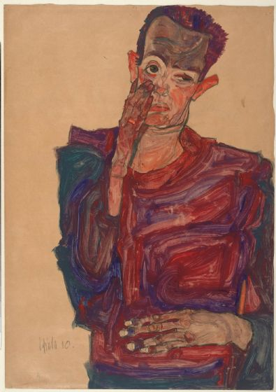 Schiele, Egon: Self-Portrait with Eyelid Pulled Down, 1910. Fine Art Print/Poster. Sizes: A4/A3/A2/A1 (003715)